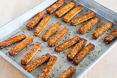 Kalyn's Kitchen®: Baked Sesame Tofu Sticks with Peanut Butter and Tahini Sauce