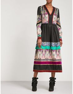 Etro Patchwork V-neck silk midi dress