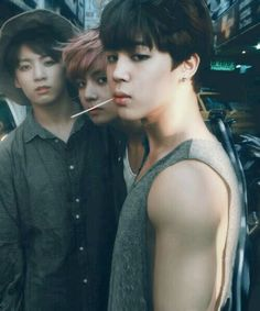 From left to right: jungkook, V, Jimin || BTS