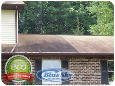 Soft Washing - Roof Cleaning with Blue Sky Power Washing Vinyl Soffit, Vinyl Siding, Roof Cleaning, Pressure Washing, Restoration, Sky, Water, Blue, Heaven