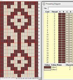 22 tarjetas, 2 colores, doble faz, repite cada 24 movimientos // pampa1_DF diseñado en GTT༺❁ Inkle Weaving, Inkle Loom, Card Weaving, Tablet Weaving Patterns, Viking Knit, Crochet Chart, Science Art, Tapestry, Crafty