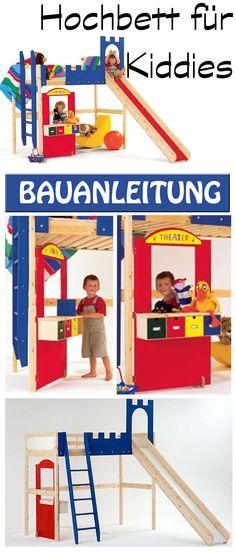Dieses Hochbett für Kinder ist ein perfekter Ort zum Spielen – und Schlafen. Denn neben einer Rutsche, die man durch ein Burgtor erreicht, gibt es auch noch einen Klappladen zum Puppentheater spielen. Wir zeigen dir in der Bauanleitng, wie du dieses Spielparadies bauen kannst.