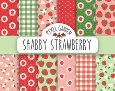 Shabby Strawberry Digital Paper Pack. Cottage Chic Scrapbooking Paper. Strawberry Printable Card. Digital Collage Sheet.