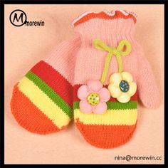Morewin Gloves Lovely Flowers Baby Girls' Two Fingers Mittens Kid's Thrick…