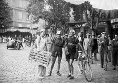 Tour de France 1936. René Vietto and Sylvère Maes pose at finish of stage 12 .Marseille (Cannes - Marseille).