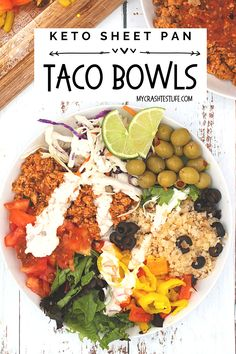 An easy-to-makeKeto Sheet Pan Chicken Taco Bowlrecipe! This meal is filling, packed with good ingredients, and is a great make-ahead weekly meal prep option. Plus, since everything cooks together on a single sheet pan, clean-up is a snap! Taco bowls will quickly become a familyfavorite meal with their mountain of endless, satisfying ingredient combinations. Dinner Meal, Low Carb Dinner Recipes, Delicious Dinner Recipes, Turkey Taco Bowl Recipe, Turkey Recipes, Healthy Salad Recipes, Real Food Recipes, Keto Recipes, Ground Turkey Tacos