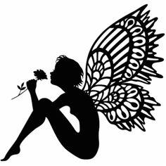 Fairy smelling a rose silhouette Royalty Free Stock Vector Art Illustration Fairy Templates, Animal Body Parts, Foto Gif, Fairy Lanterns, Photo Sculpture, Fairy Jars, Desenho Tattoo, Illustration, Silhouette Vector