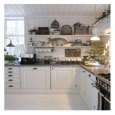 love the walls, open shelves and drawer pulls