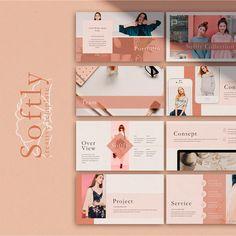 Softly Presentación Graphisches Design, Slide Design, Book Design, Layout Design, Presentation Layout, Presentation Templates, Graphic Design Posters, Graphic Design Inspiration, Powerpoint Design Templates