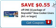 New Coupon!  SAVE $0.55 off ONE (1) package of Reynolds® Slow Cooker Liners (4ct. or larger)! - http://www.stacyssavings.com/new-coupon-save-0-55-off-one-1-package-of-reynolds-slow-cooker-liners-4ct-or-larger-2/