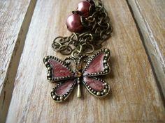 Vintage Enamel Butterfly Necklace by RainwaterStudios on Etsy, $22.00