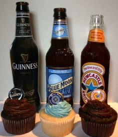 "Beer cupcakes - delicious! Another eligible ""repin to win"" pin if you'd like to win an awesome #BlueMoon standing cooler!"