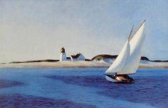 Edward Hopper - 1930s painting of a sailboat near Long Point Light