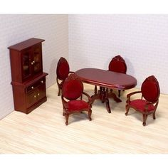 Melissa and Doug Victorian Dining Room Furniture Set - 1 in. Scale | www.dollhousesgalore.com Check out: missdollhouse.com