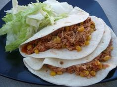 Lime Chicken Tacos (crockpot) - 1-1/2 lbs chicken breast, 3 tbsp lime juice, 1 tbsp chili powder, 1 cup frozen corn, 1 cup chunky salsa. Place chicken in crockpot.  Combine lime juice & chili powder, pour over chicken. Cover and cook on low 5-6 hrs.  Shred chicken, stir in corn and salsa, cover and cook on low 30 min. Serve in tortillas w/ sour cream, cheese and lettuce.