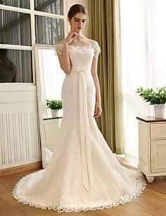 Trumpet+/+Mermaid+Wedding+Dress+Chapel+Train+Off-the-shoulder+Lace+/+Satin+with+Bow+/+Lace+–+USD+$+200.00