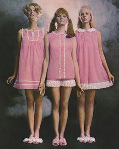 1969 Fashion, Sixties Fashion, Pink Fashion, Retro Fashion, Vintage Fashion, Gothic Fashion, Vintage Nightgown, Vintage Dresses, Vintage Outfits