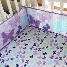 Baby Bedding Crib Cot Sets - Purple Butterfly Theme. Brand New Design (7-Piece)