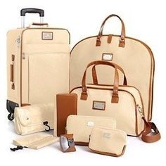 Joy Mangano St. Barts Canvas Chic Collection 10-piece Luggage Set - Cream.