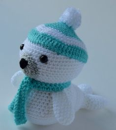 Crochet Seal Crochet Winter Seal With Pom pom Hat and Scarf Amigurumi Stuffed Animal Baby Seal Sea Animal Stuffed Toy Doll Decor  ************************************************************************************  Meet this cute little winter seal! He would be perfect as a soft cuddly friend or as an adorable decoration for the upcoming winter months. He is even all bundled up for the winter. The hat is attached, but the scarf is removable. I can do custom orders for this. You can choose…