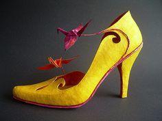 Phoenix - Special, unique Papershoe - Shoe art - Paper sculpture - Design shoes