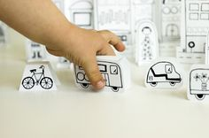 {Made by Joel} Free printables:  Paper City + Vehicles ...would make a fun party activity and favor