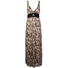 My1stwish Womens Printed Leopard Sleeveless V Neck Long Maxi Dress ($7.99) ❤ liked on Polyvore featuring dresses, v-neck dresses, sleeveless long dress, long brown dress, leopard maxi dress and v neck maxi dress