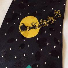 Father Christmas Santa Claus Xmas Eve Party Reindeer Sleigh Novelty Silk Tie #Addiction #Tie