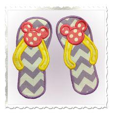Applique Mouse Ear Flip Flops Machine Embroidery Design - 3 Sizes