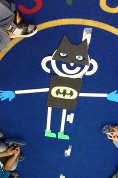 Batman mat man for Halloween Preschool Transitions, Kindergarten Writing, Toddler Preschool, Preschool Activities, Literacy, Halloween Theme Preschool, Halloween Letters, Halloween Themes, Pre K Activities