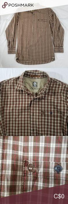 Timberland long sleeve button up shirt This is a brown and beige plaid shirt Timberland Shirts Casual Button Down Shirts Timberland Mens, Casual Shirts For Men, Casual Button Down Shirts, Button Up Shirts, Colorful Shirts, Plus Fashion, Fashion Trends, Plaid, Tartan