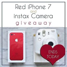We're giving YOU a chance to win a Brand New Special Edition RED IPhone 7 AND a Brand New Fuji Instax 8 Camera!!   See original post for all terms and conditions. Ends Today!  Good Luck!!