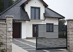 House Fence Design, Modern Fence Design, House Outside Design, Modern Villa Design, Door Gate Design, Bungalow House Design, Architectural Design House Plans, Home Building Design, Craftsman Style House Plans