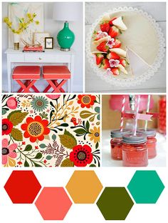 Use Stampin' Up! Colors:  Real Red, Calypso Coral, Summer Starfruit, Garden Green, and Bermuda Bay -- and the Hexagon Punch of course if you want the honeycomb shape!