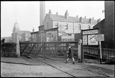 This is the Daubhill railway crossing on the original line of the railway from Bolton to Chequerbent. This is 200 yards east of Daubhill station closed in 1952. The terrace in the middle of the picture is Southend Street. The gable end at the left is the end of Nixon Road. Bolton Lancashire, 200 Yards, The Gables, Historical Architecture, Vintage Pictures, Small Towns, Old Town, Old Photos, Railroad Tracks