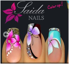 Installation of acrylic or gel nails - My Nails French Nail Designs, Pretty Nail Designs, Pretty Nail Art, Nail Polish Designs, Beautiful Nail Art, Acrylic Nail Designs, Nail Art Designs, Fancy Nails, Bling Nails