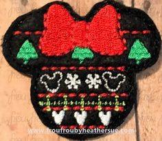 Clippie Christmas Sweater Miss Mouse Head Machine Embroidery In The Hoop Project 1.5, 2, 3, and 4 inch