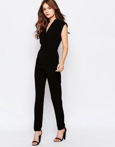 Image 1 of New Look Wrap Front Tailored Jumpsuit