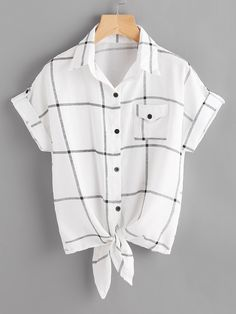 Shop Checked Knot Front Cuffed Shirt With Chest Pocket online. SheIn offers Checked Knot Front Cuffed Shirt With Chest Pocket & more to fit your fashionable needs. Girls Fashion Clothes, Teen Fashion Outfits, Modest Fashion, Girl Fashion, Girl Outfits, Style Fashion, Fashion Dresses, Embroidered Denim Shirt, Knotted Shirt