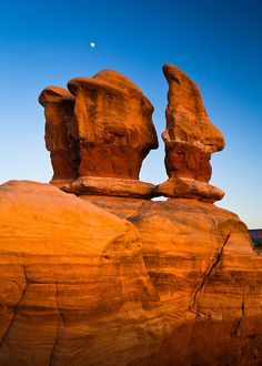 The moon rises above the Devil's Garden, Grand Staircase - Escalante National Monument. | Adam Schallau Photography