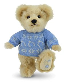This much-anticipated annual bear is uniquely dressed in a gorgeous bespoke wool jumper that features the famous, Merrythought wishbone, interspersed with silver-jewelled snowflakes. Christmas Teddy Bear, Wool, Teddy Bears, Stuffed Animals, Bespoke, Snowflakes, Jumper, Silver, Barbie Dress
