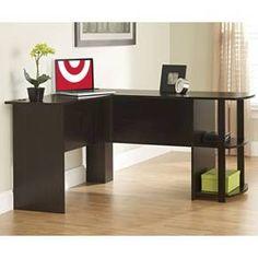 Dakota L-Shaped Desk with Bookshelves - Espresso - Altra : Target