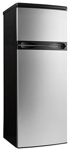 Designer 7.3 Cu. Ft. Refrigerator with Top-Mount Freezer, Black with Spotless Steel Doors * Want additional info? Click on the image.