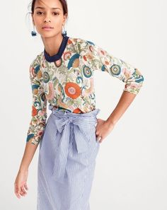 Our J.Crew designers found this ornate floral print on a vintage swatch and loved it so much they splashed it on everything from a skirt to our Tippi sweater. It's a good reminder to stop and wear the flowers.