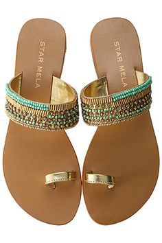 Turquoise & gold sandals...great for summer!
