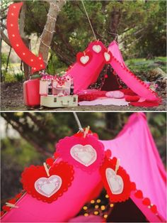 Valentines decor ideas that could be incorporated into a romantic wedding setting #decor #weddingdetails #weddingchicks http://www.weddingchicks.com/2014/02/14/camping-with-cupid-inspiration/
