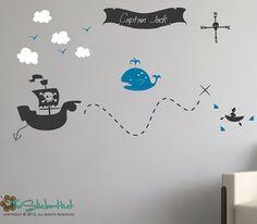 Pirate Treasure Map Ihr Name große Version jungen Zimmer Kinderzimmer - Vinyl Wand Kunst Graphics Decals Aufkleber 1553