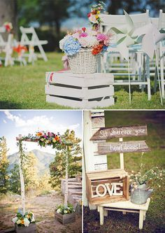 wooden crates wedding ceremony decor