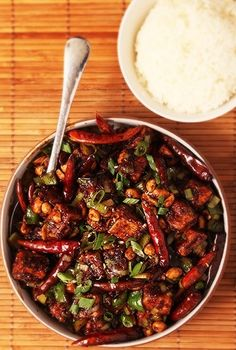 KUNG PAO TOFU ~the same author throws down a tofu version at this post's link that kills it. a bonus invaluable share included in this write-up is his batter incorporating vodka that has become a force of nature in my cookery technique arsenal. Veggie Recipes, Asian Recipes, Whole Food Recipes, Vegetarian Recipes, Cooking Recipes, Healthy Recipes, Spicy Tofu Recipes, Cooking Ham, Chilli Recipes