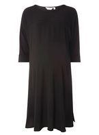 Womens **Maternity Black T-Shirt Dress- Black